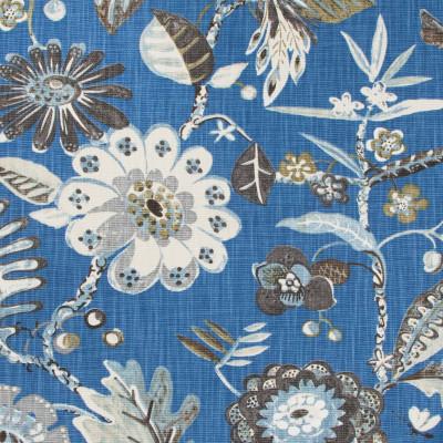 B8926 Cobalt Fabric: E36, E28, LARGE SCALE FLORAL PRINT, BLUE FLORAL PRINT, BIRD, BIRDS, BIRD PRINT, COTTON PRINT, BRIGHTLY COLORED FLORAL PRINT, MULTICOLORED FLORAL PRINT, WHIMSICAL PRINT, HALF DROP REPEAT