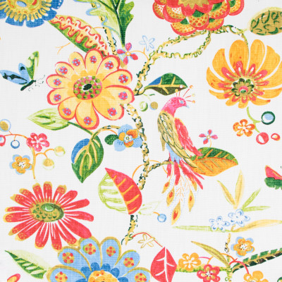 B8927 Magnolia Fabric: E29, LARGE SCALE FLORAL PRINT, RED FLORAL PRINT, BIRD, BIRDS, BIRD PRINT, COTTON PRINT, BRIGHTLY COLORED FLORAL PRINT, MULTICOLORED FLORAL PRINT, WHIMSICAL PRINT
