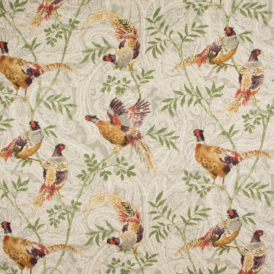 B9166 Slate Fabric: S05, E25, BIRD, ANIMAL, PHEASANT, LARGE SCALE PRINT, PAISLEY PRINT, ANNA ELISABETH