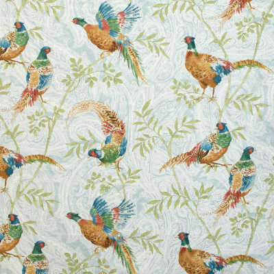 B9314 Oasis Fabric: E36, E28, BLUE PAISLEY, LARGE SCALE PAISLEY, ANIMAL, BIRD, LARGE BIRD PRINT, PHEASANT PRINT