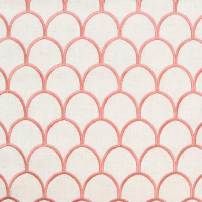 B9369 Coral Fabric: E29, SHELL PATTERN, SCALLOP PATTERN, EMBROIDERY, SHELL EMBROIDERY, SCALLOP EMBROIDERY, GEOMETRIC EMBROIDERY, PINK, SALMON