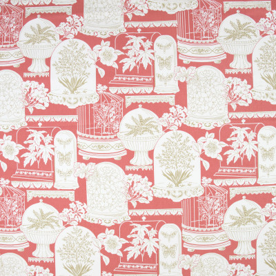 B9373 Guava Fabric: E29, ASIAN INSPIRED, FLORAL, BIRD CAGES