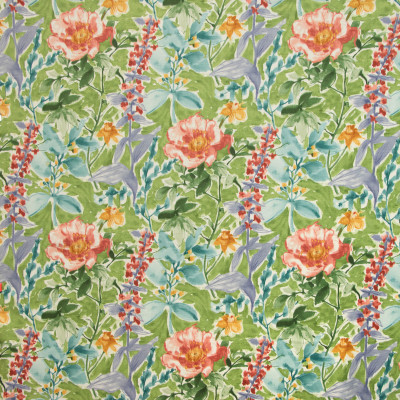 B9404 Spring Green Fabric: E29, GREEN FLORAL PRINT, COTTON FLORAL PRINT, WATERCOLOR INSPIRED FLORAL PRINT