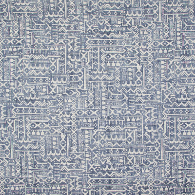 B9479 Dark Denim Fabric: E32, BLUE CONTEMPORARY PRINT, TRIBAL PRINT, BLUE AND WHITE PRINT