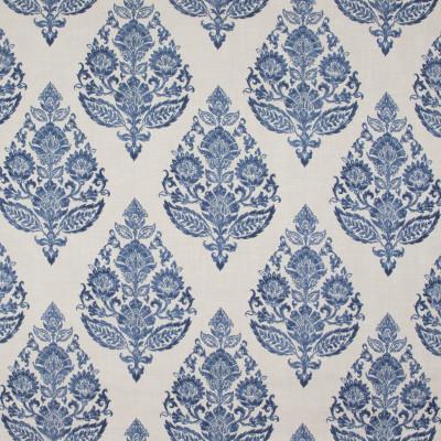B9483 Antique Blue Fabric: E38, E32, BLUE MEDALLION, BLUE FLORAL MEDALLION, COTTON PRINT, LARGE SCALE MEDALLION, INDIAN BLOCK PRINT INSPIRED
