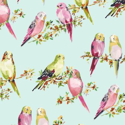 B9505 Eggshell Blue Fabric: E38, E33, BLUE BIRD, ANIMAL, BLUE BIRD PRINT, PINK BIRD PRINT, COTTON PRINT, ANIMAL PRINT, BIRDS