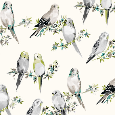 B9507 Dove Fabric: E37, E33, BIRD PRINT, ANIMAL PRINT, GRAY PRINT, COTTON PRINT, TEAL PRINT, AQUA PRINT