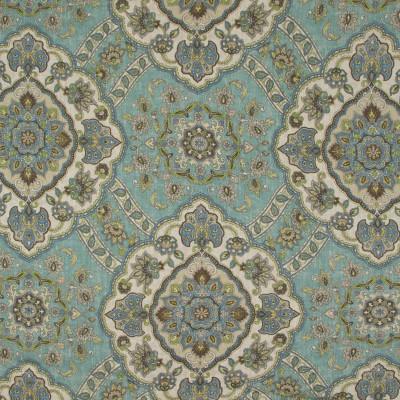 B9520 Corfu Fabric: E33, BLUE MEDALLION PRINT, MEDIUM BLUE MEDALLION PRINT, LINEN PRINT, FLORAL PRINT, FLORAL LINEN PRINT