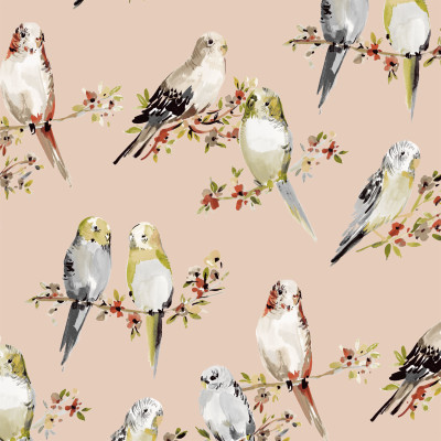 B9592 Satin Fabric: E37, E35, PINK BIRD, PINK BIRD PRINT, ANIMAL PRINT, BLUSH PRINT