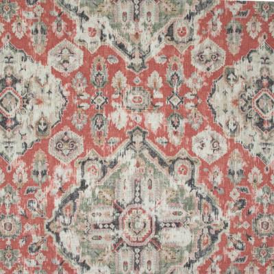 B9609 Henna Red Fabric: E35, LARGE MEDALLION, HENNA RED MEDALLION, MEDALLION PRINT, LINEN PRINT