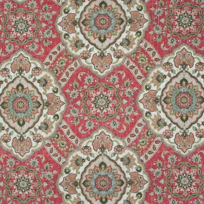 B9610 Vintage Red Fabric: E35, LARGE MEDALLION, HENNA RED MEDALLION, MEDALLION PRINT, LINEN PRINT, FLORAL PRINT