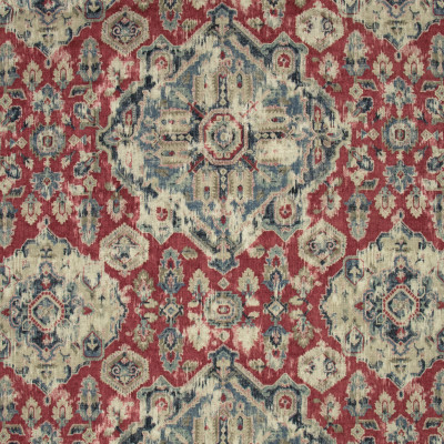 B9614 Moroccan Red Fabric: E35, LARGE SCALE MEDALLION PRINT, LINEN PRINT, RED LINEN PRINT, SOUTHWEST MEDALLION