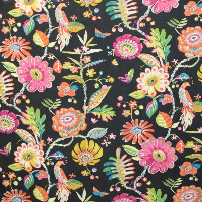 B9620 Jet Fabric: E36, BLACK FLORAL, BLACK PRINTED FLORAL, HALF DROP REPEAT, BIRDS, BIRD, BIRD PRINT, COTTON PRINT, LARGE SCALE FLORAL