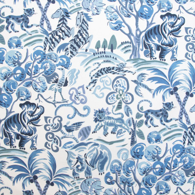 B9627 Persian Blue Fabric: E36, ANIMAL PRINT, ELEPHANT PRINT, TIGER PRINT, BIRD PRINT, PALM TREES, BIRD PRINT