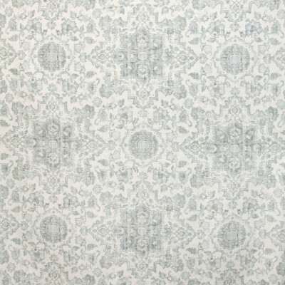 B9669 Seagrass Fabric: E37, VINTAGE CARPET MEDALLION, VINTAGE MEDALLION INSPIRED, FLORAL PRINT, LINEN PRINT, SPA BLUE, LIGHT BLUE