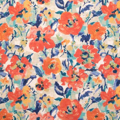 B9684 Sunset Fabric: E38, ORANGE FLORAL PRINT, BLUE FLORAL PRINT, COTTON PRINT, MULTICOLORED FLORAL PRINT, LARGE SCALE FLORAL PRINT