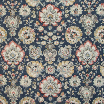 B9697 Sapphire Fabric: E38, LARGE SCALE FLORAL PRINT, LINEN PRINT, FLORAL LINEN PRINT, INDIGO, NAVY, VINTAGE