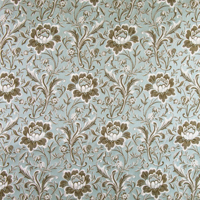 B9774 Fresco Fabric: E40,  LIGHT BLUE FLORAL, BROWN, BLUE AND BROWN, BLUE AND BROWN FLORAL, FLOWERS, LEAVES, BOTANICAL