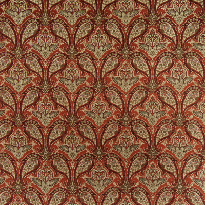 B9857 Ruby Slipper Fabric: E41, DARK RED PAISLEY, RED FLORAL, DARK RED SCROLL, JACQUARD PAISLEY, TAPESTRY