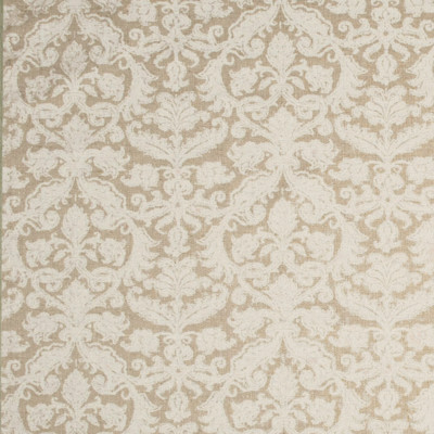 F1254 Chalk Fabric: E54, FLORAL, MEDALLION, NEUTRAL, NATURAL, MADE IN USA, FAUX LINEN, PRINT