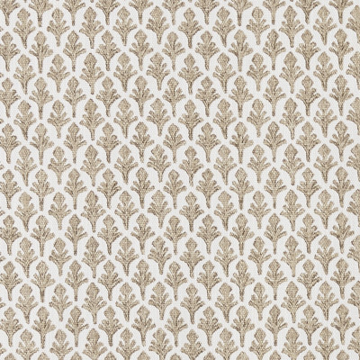 F1260 Driftwood Fabric: E54, SMALL-SCALE, FERN, LEAF, FOLIAGE, PRINT, NEUTRAL, FAUX LINEN, LINEN BLEND, MADE IN USA, DRIFTWOOD