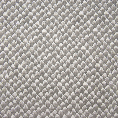 F1272 Grey Fabric: E54, PETALS, SCALES, SCALLOP, GRAY, PRINT, LINEN BLEND, FAUX LINEN, MADE IN USA