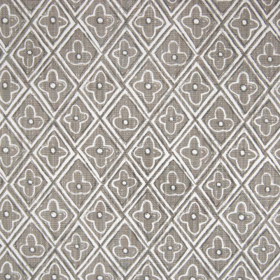 F1275 Gray Fabric: E54, DIAMOND, FLORAL, GEOMETRIC, PRINT, GRAY, MADE IN USA