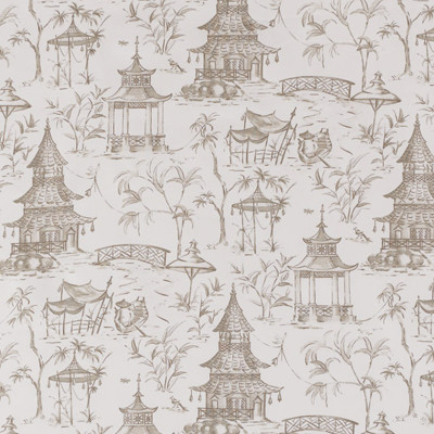 F1276 Bisque Fabric: E54, PAGODA, ASIAN, TOILE, COTTON, PRINT, COTTON PRINT, 100% COTTON, NEUTRAL, GRAY, MADE IN USA