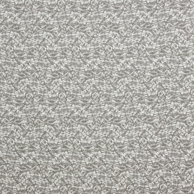 F1281 Stone Fabric: E54, PALM, LEAF, FOLIAGE, TROPICAL, GRAY, PRINT, MADE IN USA, FAUX LINEN, LINEN BLEND