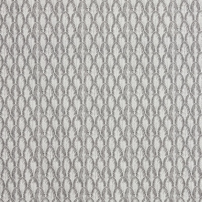 F1282 Sterling Fabric: E54, FERN, LEAF, FOLIAGE, SCALLOP, GRAY, CHARCOAL, PRINT, LINEN BLEND, FAUX LINEN, MADE IN USA