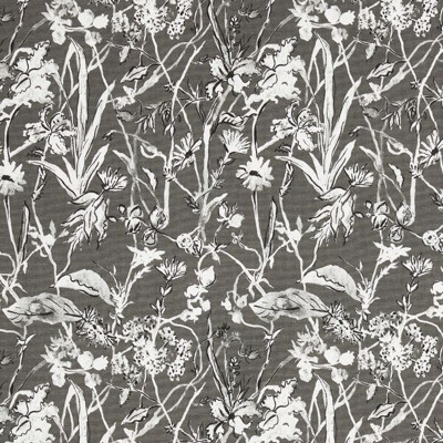 F1284 Ink Fabric: E54, FLORAL, FOLIAGE, BOTANICAL, PRINT, GRAY, FAUX LINEN, LINEN BLEND, MADE IN USA