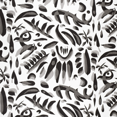 F1286 Jet Fabric: E54, CONTEMPORARY, ABSTRACT, BRUSH STROKES, BLACK, GRAY, BLACK AND WHITE, PRINT, LINEN BLEND, FAUX LINEN, MADE IN USA
