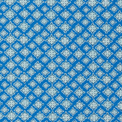 F1303 Cyan Fabric: E55, BLUE, PRINT, GEOMETRIC, MEDALLION, AQUA, COTTON, COTTON PRINT, 100% COTTON, MADE IN USA