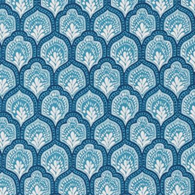 F1305 Cyan Fabric: E55, GEOMETRIC, SCALLOP, BLUE, PRINT, COTTON, COTTON PRINT, 100% COTTON, MADE IN USA