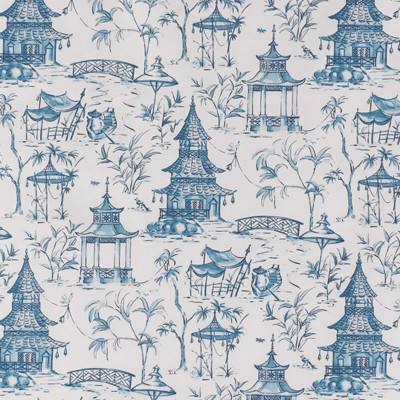 F1306 Seaside Fabric: E55, TOILE, BLUE TOILE, BLUE AND WHITE TOILE, PAGODA PRINT, PAGODAS PRINT, INDIGO AND WHITE PRINT, COTTON PRINT, ASIAN INSPIRED PRINT, SCENERY, SCENE,