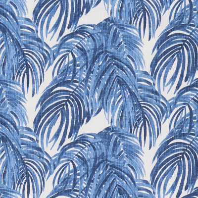 F1312 Wedgewood Fabric: E55, LEAF, FOLIAGE, PALM, TROPICAL, BEACH, BLUE, PRINT, COTTON, 100% COTTON, COTTON PRINT, MADE IN USA