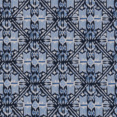 F1318 Wedgewood Fabric: E55, DIAMOND, GEOMETRIC, GLOBAL, TRIBAL, AZTEC, PRINT, SOUTHWEST, IKAT, MADE IN USA, COTTON, COTTON PRINT, 100% COTTON, BLUE