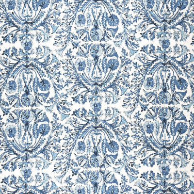 F1319 Azure Fabric: E55, LARGE SCALE PRINT, LARGE SCALE FLORAL PRINT, COTTON PRINT, BLUE AND WHITE COTTON PRINT, INDIGO AND WHITE COTTON PRINT, AZURE, BLUE, NAVY, COASTAL PRINT, COASTAL INSPIRED