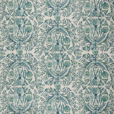 F1327 Verde Fabric: E55, FLORAL, MEDALLION, GREEN, TEAL, PRINT, LINEN BLEND, FAUX LINEN, MADE IN USA