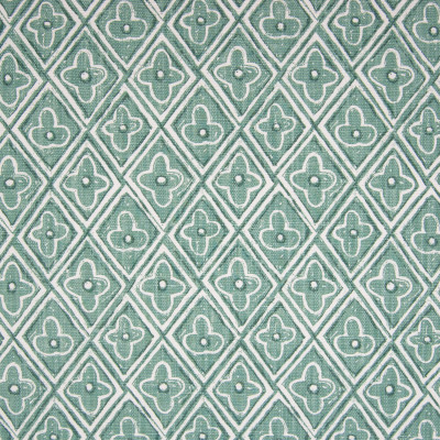 F1331 Aqua Fabric: E55, AQUA, SEAFOAM, TEAL, FLORAL, DIAMOND, CONTEMPORARY, PRINT, LINEN BLEND, FAUX LINEN, MADE IN USA