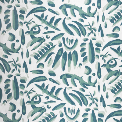 F1334 Viridian Fabric: E55, CONTEMPORARY, ABSTRACT, TRIBAL, LINEN BLEND, FAUX LINEN, PRINT, BLUE, TEAL, MADE IN USA
