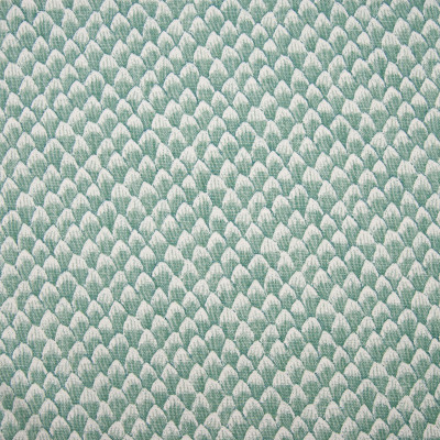 F1335 Teal Fabric: E55, PETALS, SCALES, SCALLOP, PRINT, TEAL, LINEN BLEND, FAUX LINEN, MADE IN USA