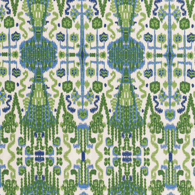 F1336 Kelly Fabric: E55, IKAT, SOUTHWEST, AZTEC, TRIBAL, PRINT, GREEN, BLUE, GREEN AND BLUE, COTTON, COTTON PRINT, 100% COTTON, MADE IN USA