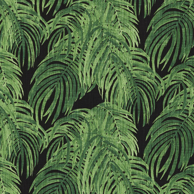 F1337 Cayman Fabric: E55, PALM, FOLIAGE, LEAF, TROPICAL, BEACH, BOTANICAL, PRINT, COTTON, COTTON PRINT, 100% COTTON, MADE IN USA, GREEN, BLACK, GREEN AND BLACK