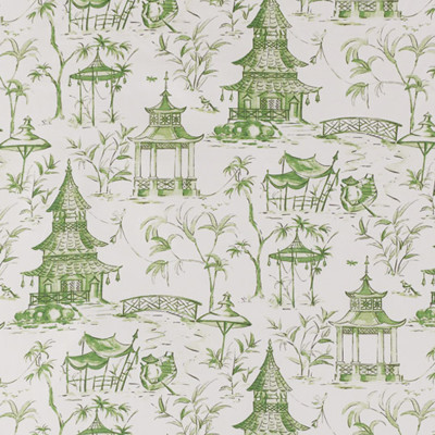 F1338 Jade Fabric: E55, ASIAN INSPIRED, TOILE PRINT, COTTON TOILE PRINT, ASIAN COTTON PRINT, PAGODA, PAGODAS