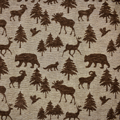 F1650 Chocolate Fabric: E61,BROWN ANIMAL CHENILLE, ANIMAL CHENILLE, BEARS AND FOXES, TREE PATTERN, TREES AND BEARS, WOODLAND PATTERN, WOODS PATTERN, ANIMAL PATTERN CHENILLE