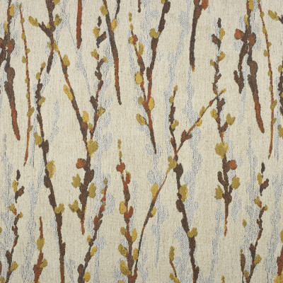F1917 Antique Fabric: E66, FOLIAGE, FLORAL, PATTERN, GOLD, BROWN, IVORY, CREAM, WOVEN