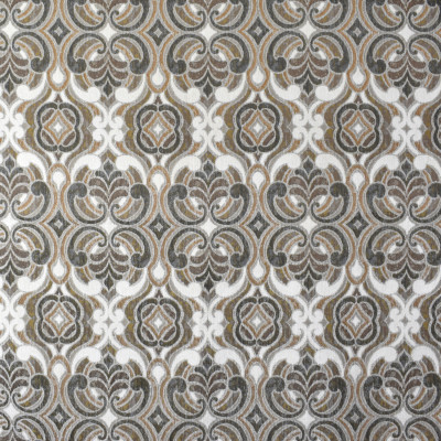 F1923 Umber Fabric: E66, CHENILLE, WOVEN, DIAMOND, SCROLL, TEXTURE, PATTERN, GOLD, BROWN, GRAY, IVORY