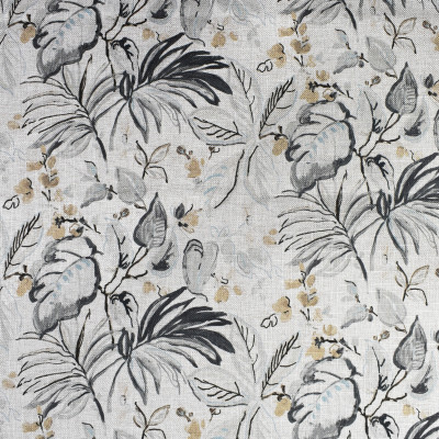 F2192 Smoke Fabric: E69, NEUTRAL, TAN, FLOWER, FLOWERS, FLOWERY, TROPICAL, LEAVES, LEAF, PALM LEAVES, PALM, BLUE, GREEN, OLIVE GREEN