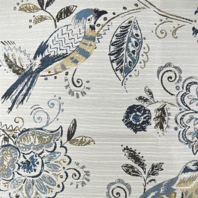F2260 Indigo Fabric: E70, FLORAL JACQUARD, BLUE FLORAL JACQUARD, BLUE AND BROWN JACQUARD, BIRD, BLUE BIRD JACQUARD, INDIGO FLORAL JACQUARD